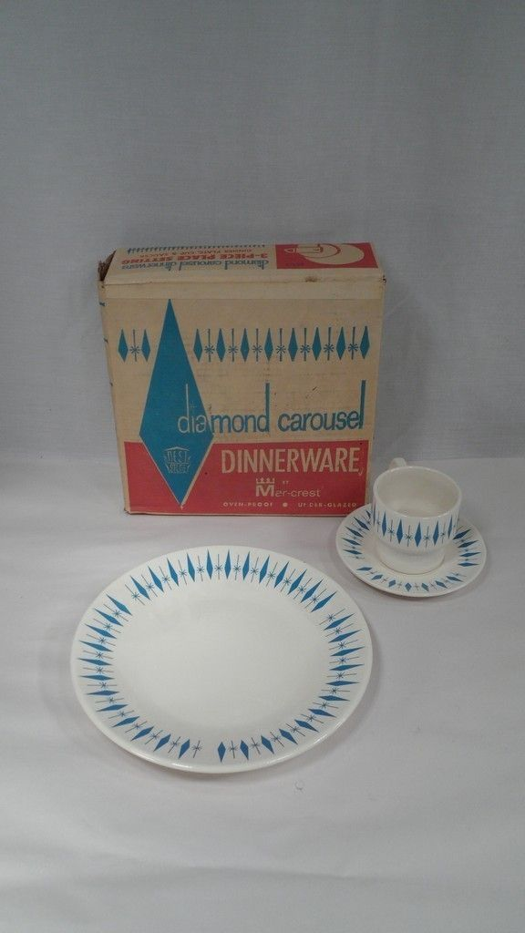 RARE MIB 1950s Marcrest Nest Stone Atomic Diamond Carousel 3 Pc Place Setting & RARE MIB 1950s Marcrest Nest Stone Atomic Diamond Carousel 3 Pc ...