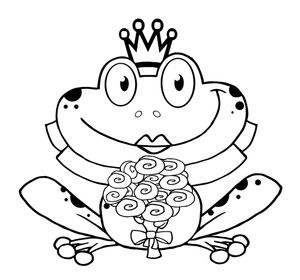 Frog Coloring Page Clipart Image Black And White Coloring Page Of A Princess Frog Bride With Frog Coloring Pages Coloring Pages For Kids Flower Coloring Pages