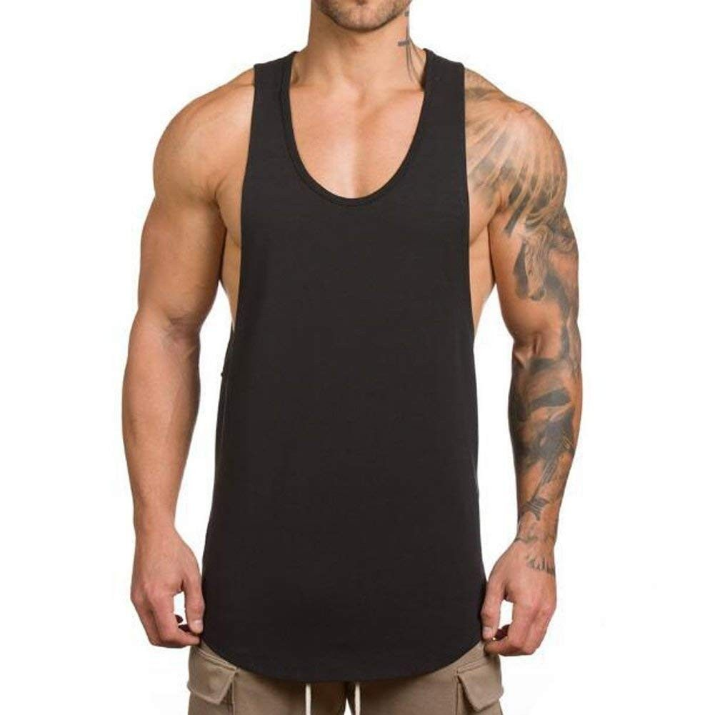 Men's Muscle Gym Workout Stringer Tank Tops Bodybuilding Fitness T-Shirts T01 - Black - C6187DQ4Q72 Size Small
