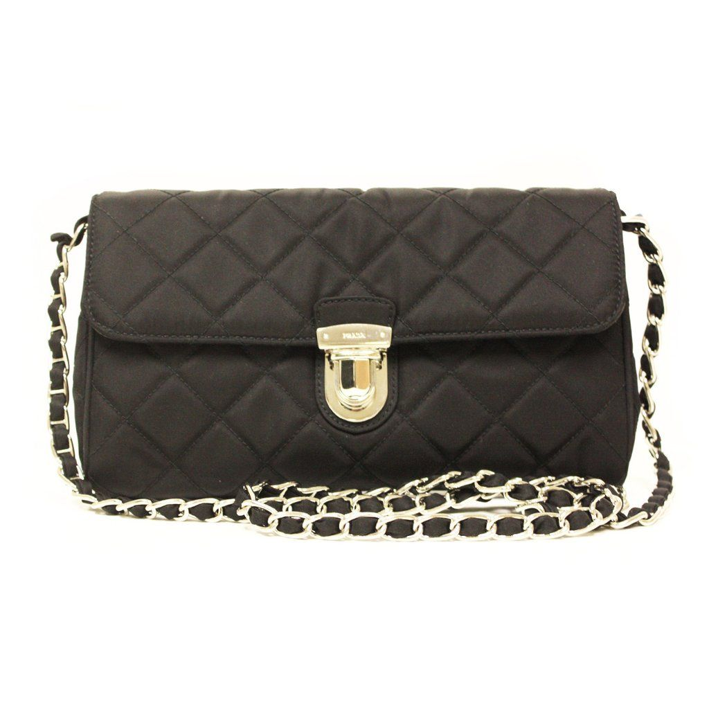 d722880602 Prada Nero Tessuto Black Quilted Nyon Chain Shoulder Bag ...
