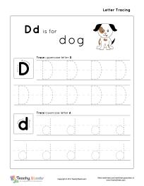 tracing letter d d is for dog preschool letter tracing worksheets tracing letters tracing. Black Bedroom Furniture Sets. Home Design Ideas