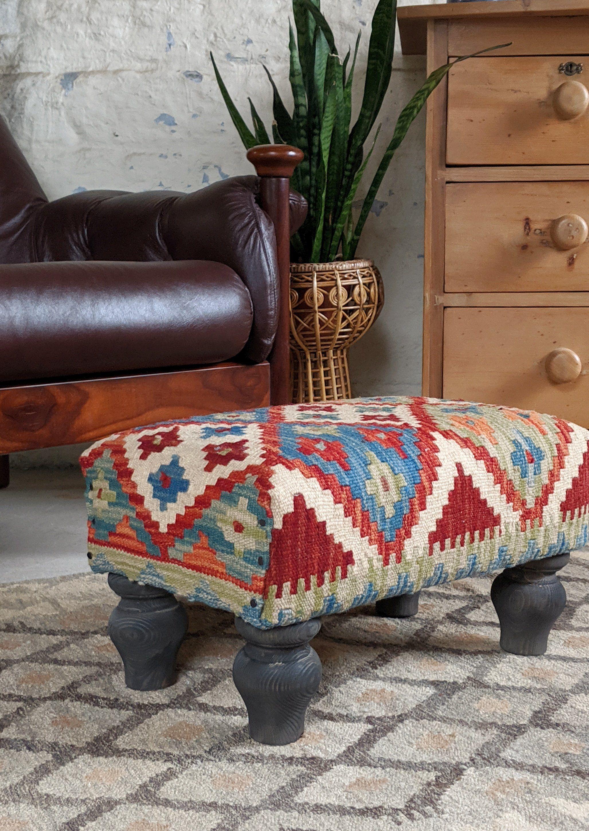 Handmade Kilim Wool Rug Ottoman Stool