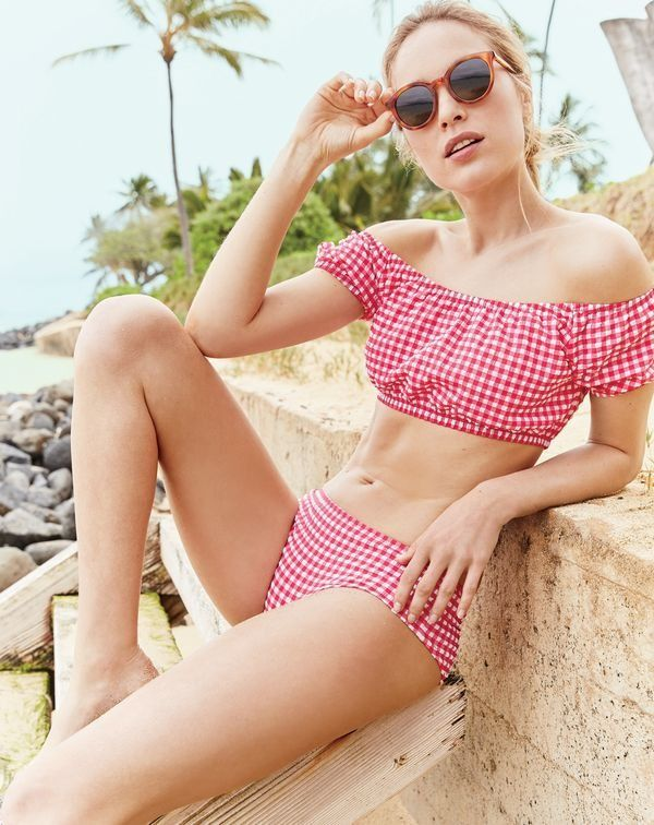 """730e200a4a0c2 Nothing says """"pretty"""" quite like gingham. Bonus: You can wear this J.Crew  women's off-the-shoulder style off the beach too—just add a high-waisted  skirt."""