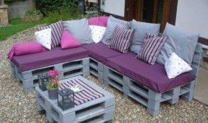 Balkonmöbel aus europaletten  graue gartenmöbel aus paletten - fresHouse | Paletten | Pinterest ...