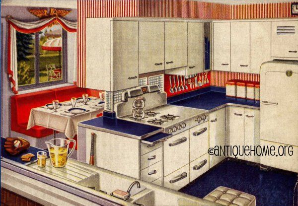 Red White And Blue 1950 S Kitchen Design In 2019 Vintage