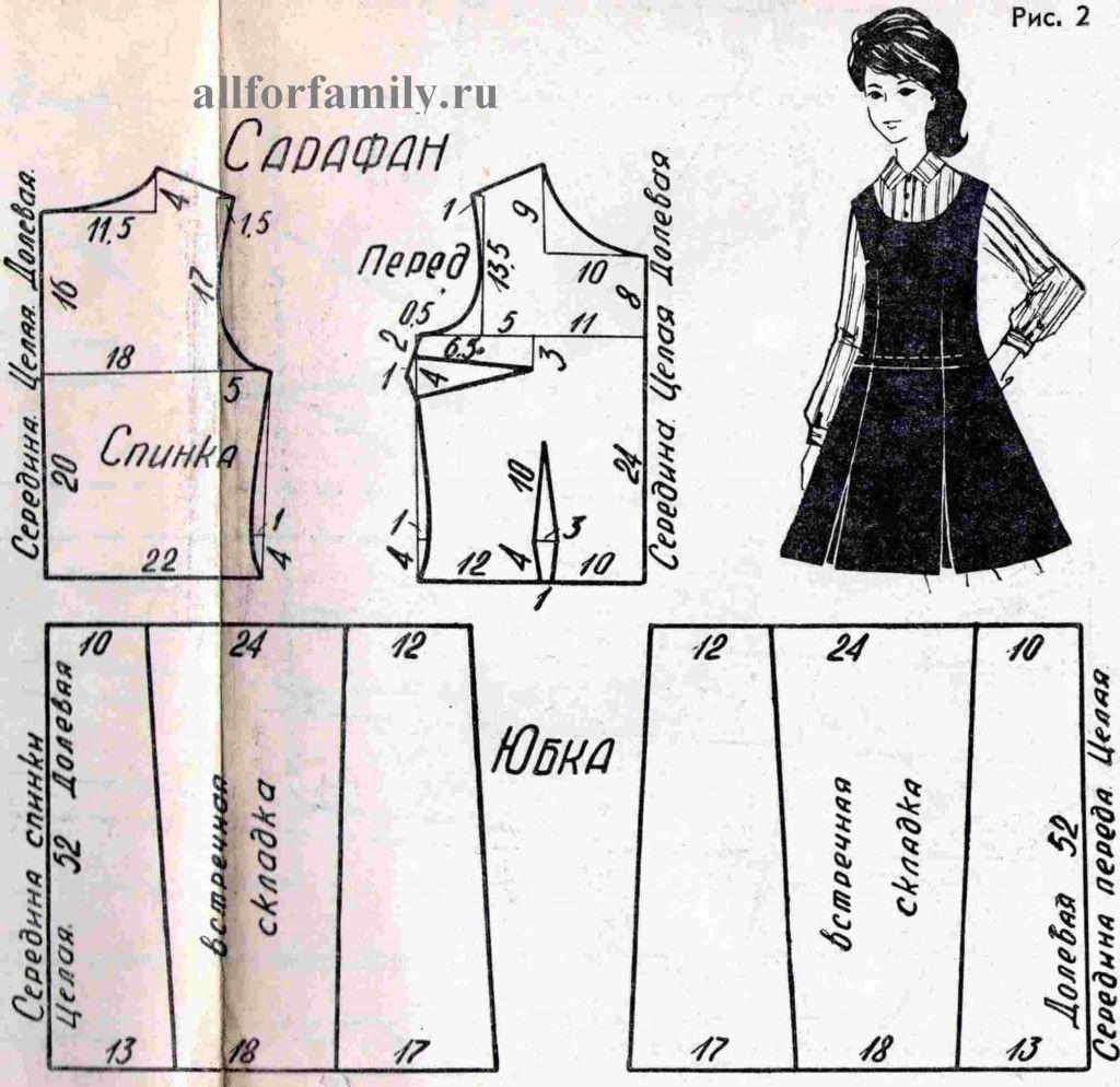 Выкройка юбки сарафана для девочки 7 лет