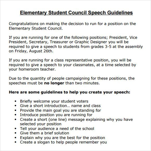 Elementary School Student Council Speech Examples  For The Princess