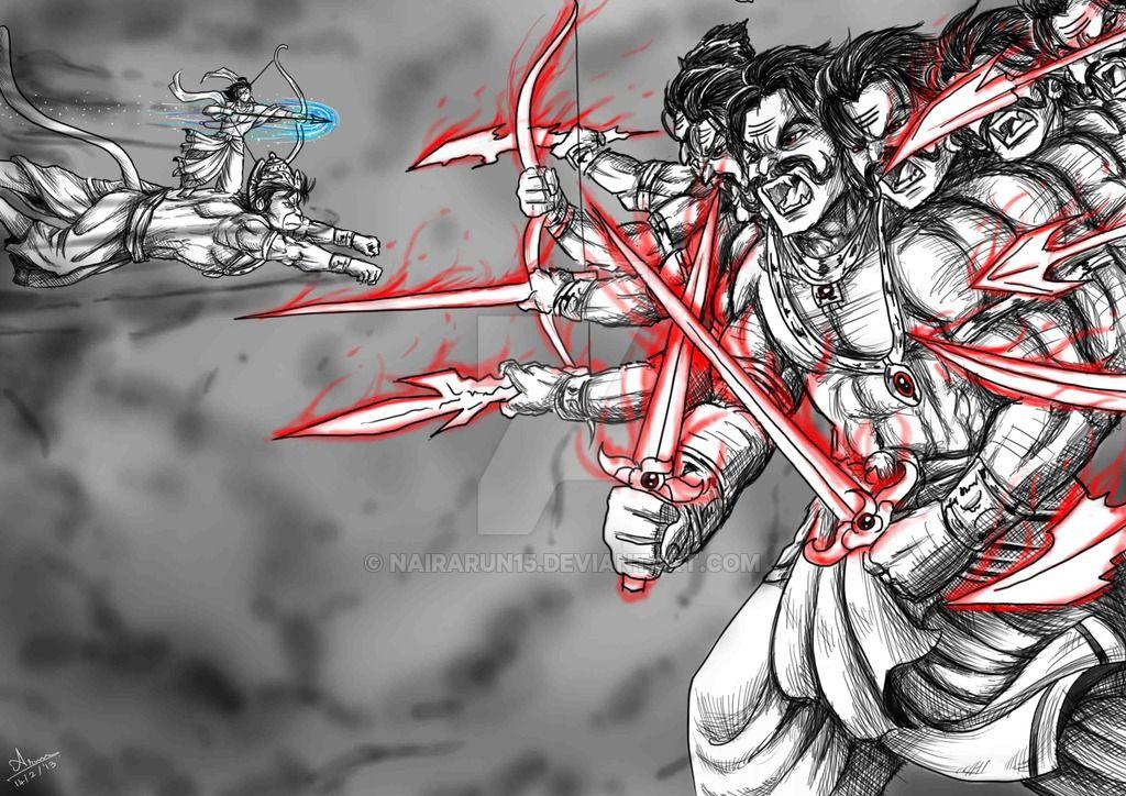 Anime digi paint lord rama vs demon king ravana