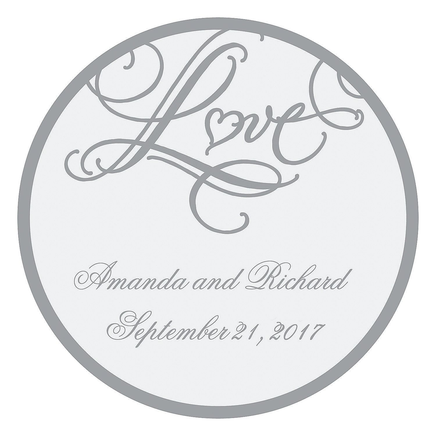 "Personalized ""Love"" Wedding Favor Stickers 
