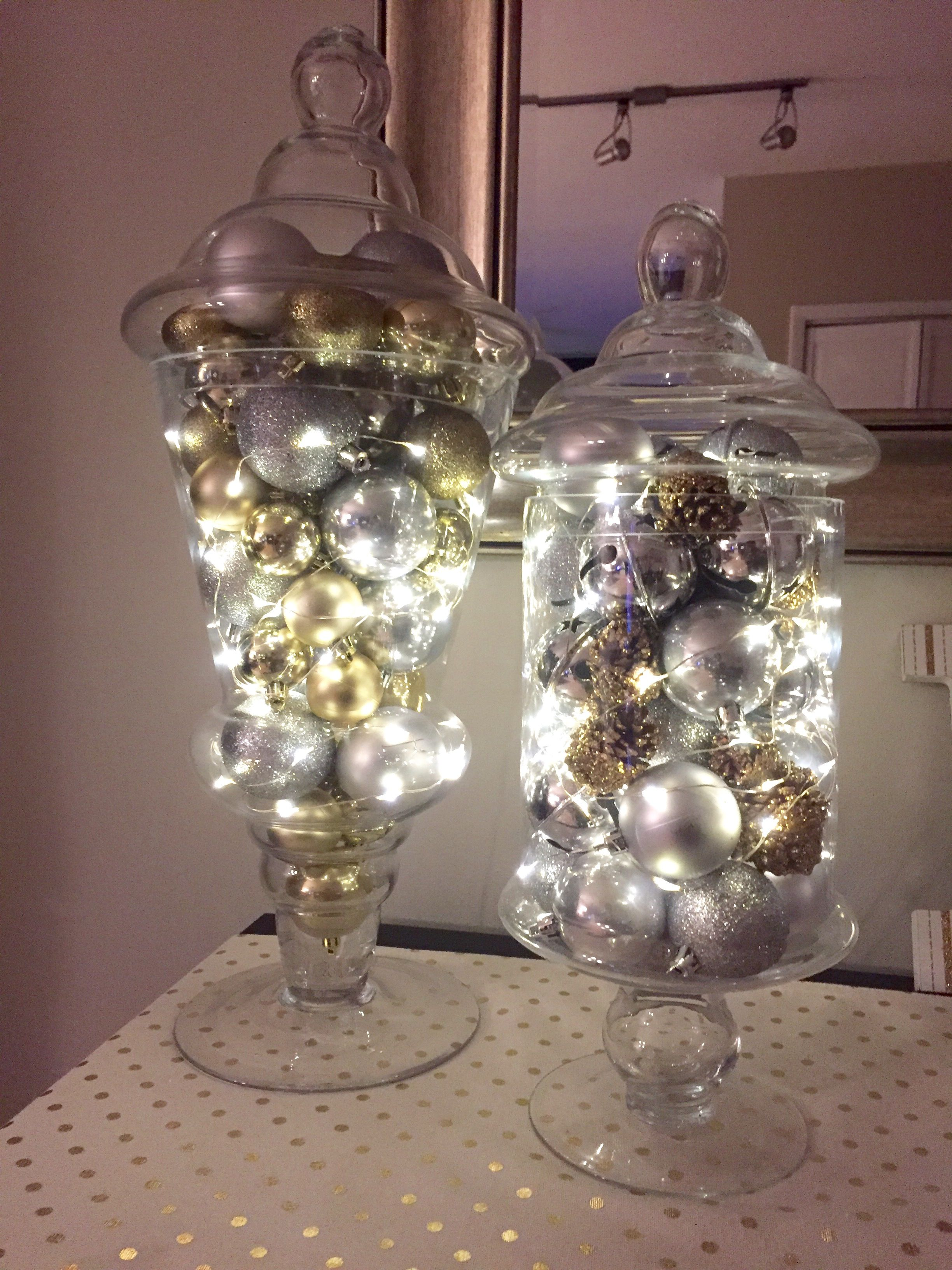 Apothecary Jars With Silver Amp Gold Ornaments Bells Pine