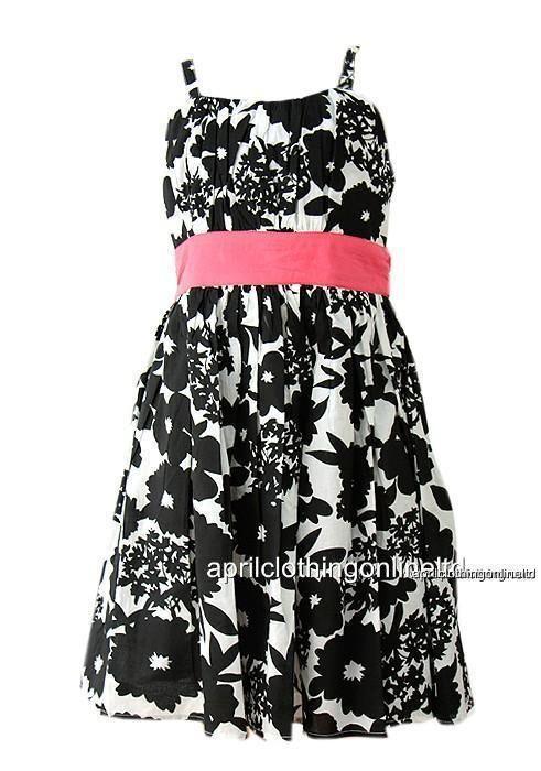 c18121d349e Girls Monochrome Floral Dress Age 5-6