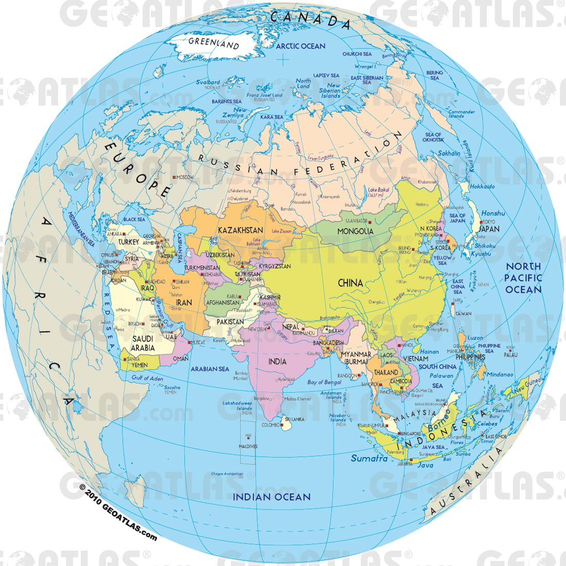 Asia On A Map Of The World.Map Of Asia Maps Asia Map World Globes Map Globe