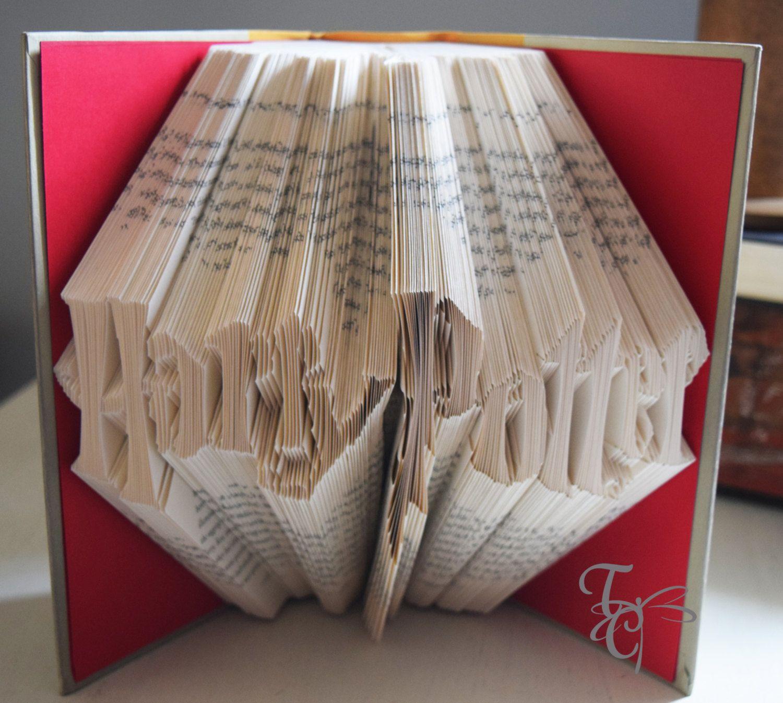 Folded Book Art Harry Potter Book Sculpture Unique Etsy Folded Book Art Book Sculpture Book Folding
