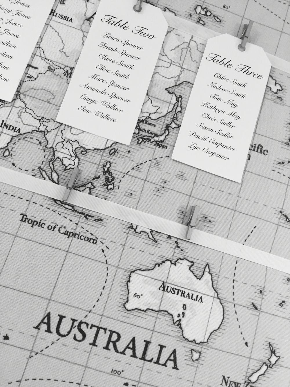 Travel themed table plan | Clock Barn Weddings | Pinterest | More ...