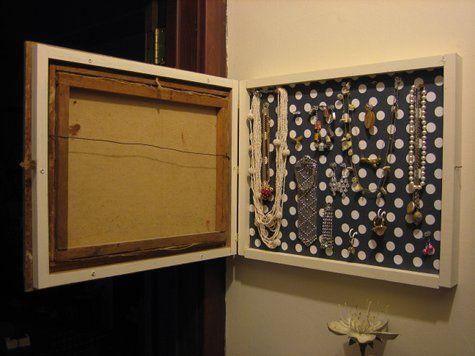 Make a box behind a picture to hide your jewelry.