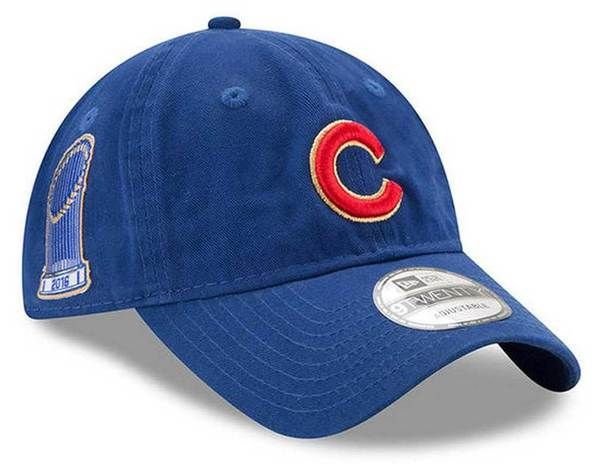 760b052e926 New Era MLB Mens Chicago Cubs Gold Patch World Series Adjustable Hat  11477857