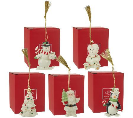 Lenox Set of 5 Porcelain Ornaments with Gift Boxes