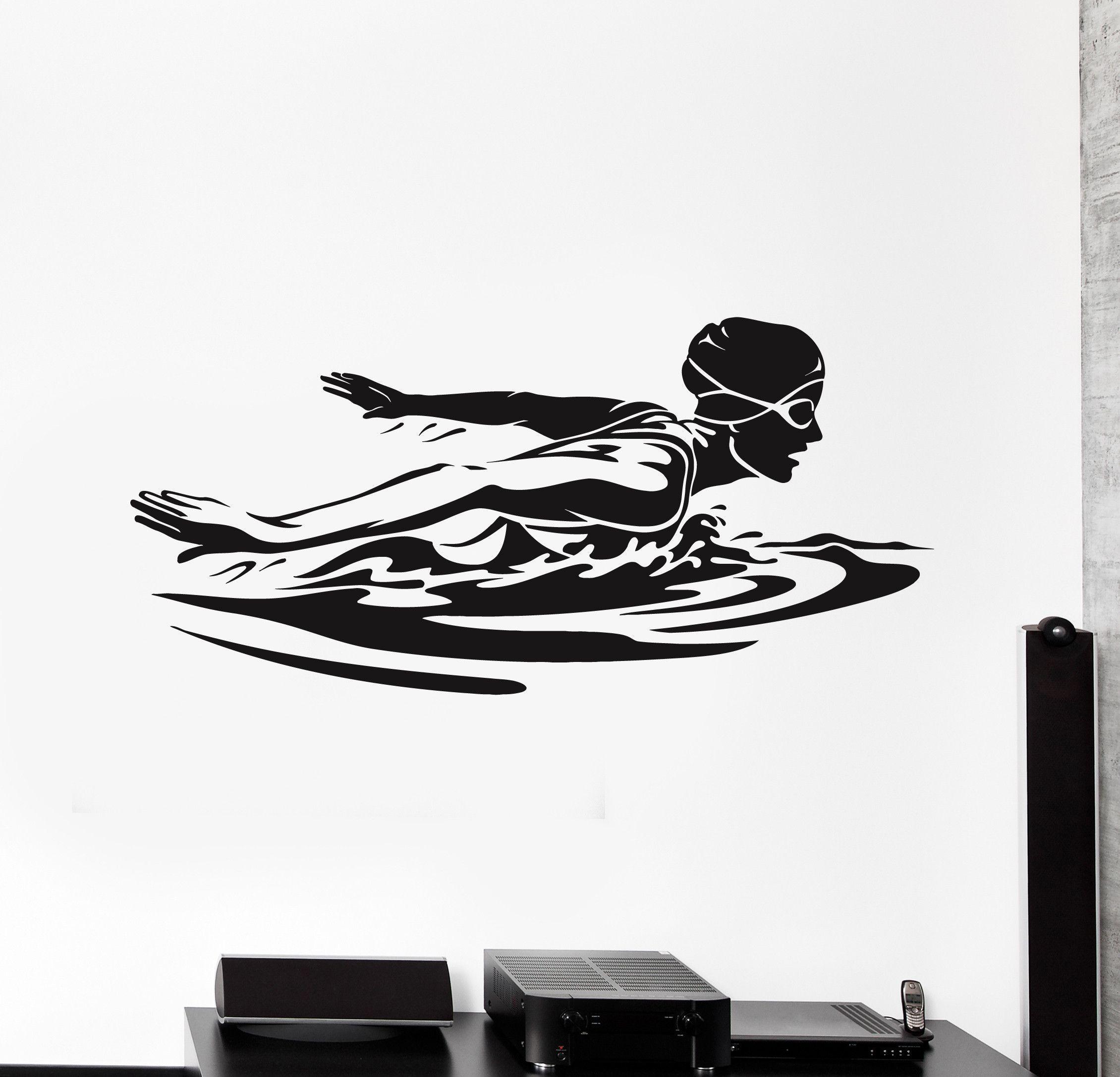 Vinyl Wall Decal Female Swimmer Woman Swimming Pool Swim Stickers