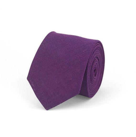 Purple Violet Linen Wedding Necktie For Groomsmen And