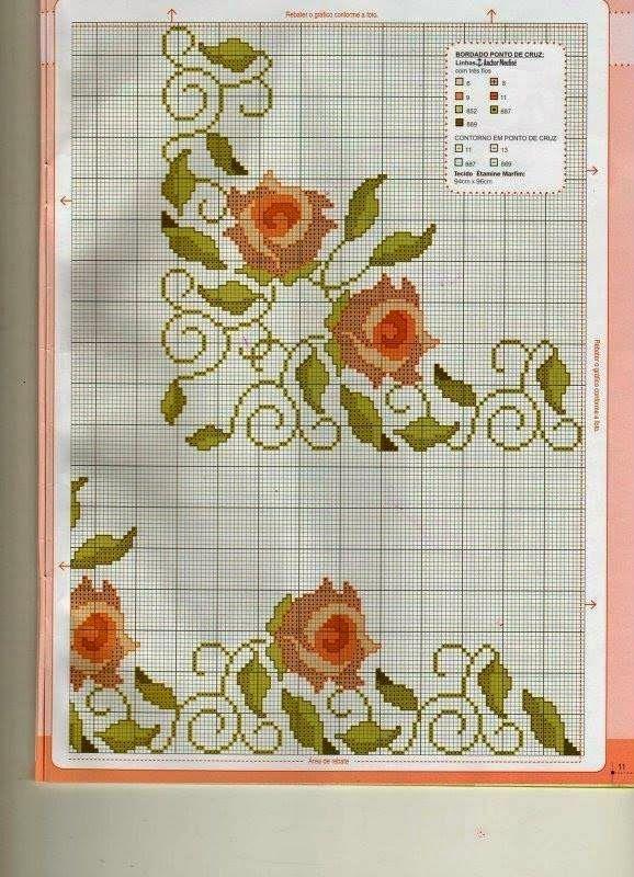 Grafico Ponto Cruz Rosas Rosa Ponto Cruz Projetos De Ponto