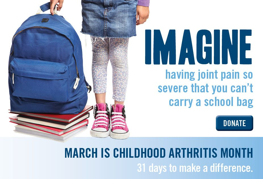 March is Childhood Arthritis Month in Canada. Go to www