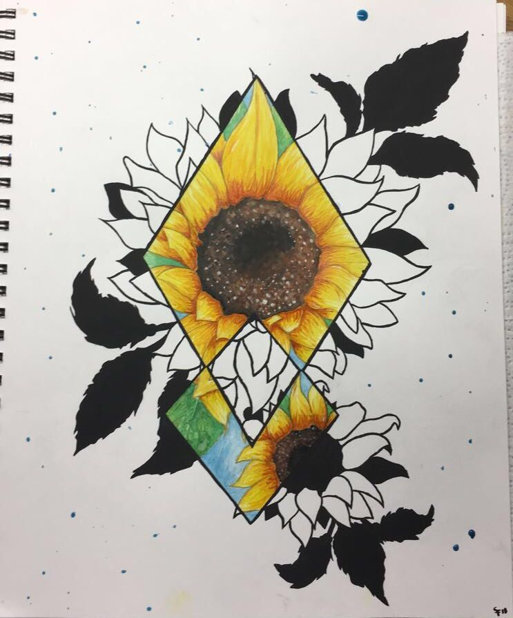 Watercolor Sunflower Diamond Painting Tattoo Idea Tattoos
