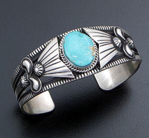 Derrick Gordon (Navajo) - Blue Pilot Mountain Turquoise & Stamped Sterling Silver Appliqué Cuff Bracelet #41124 $420.00