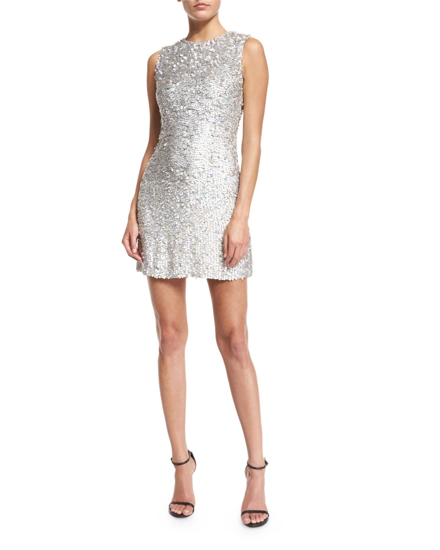 Iridescent Beaded Sleeveless Mini Dress, Silver