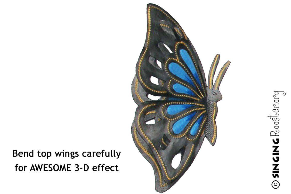 Large butterfly garden art haitian art metal u stone pinterest