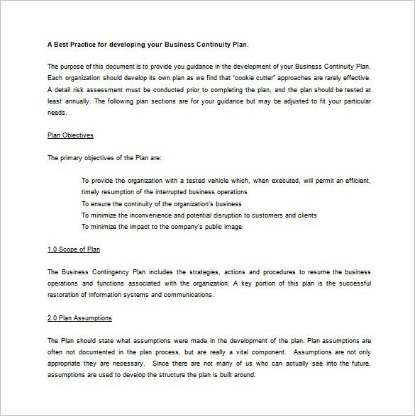 Contingency Plan Example template Pinterest Contingency plan