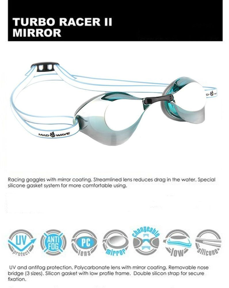 98f3cd07dba9 MadWave Swimming Goggles - Turbo Racer 2 (II) Mirror Racing Competition  Training