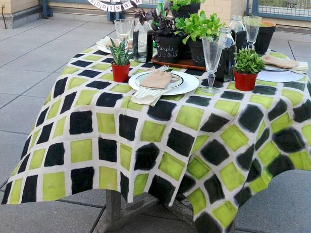 How To Make A Tablecloth Out Of A Canvas Drop Cloth Diy Parties