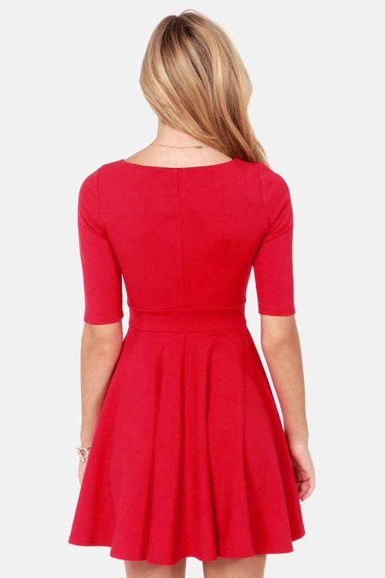 Black Swan Olivia Cherry Red Skater Dress at LuLus.com!