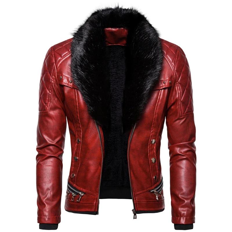 Punk Zipper Faux Leather Slim Style with Detachable Fur