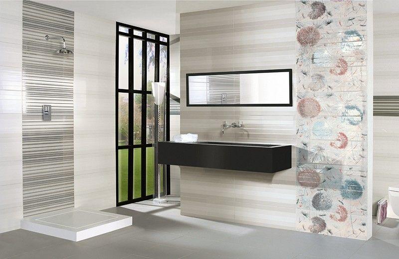badezimmer gestalten - fliesen mit pusterblumen-motiven | bad, Innenarchitektur ideen