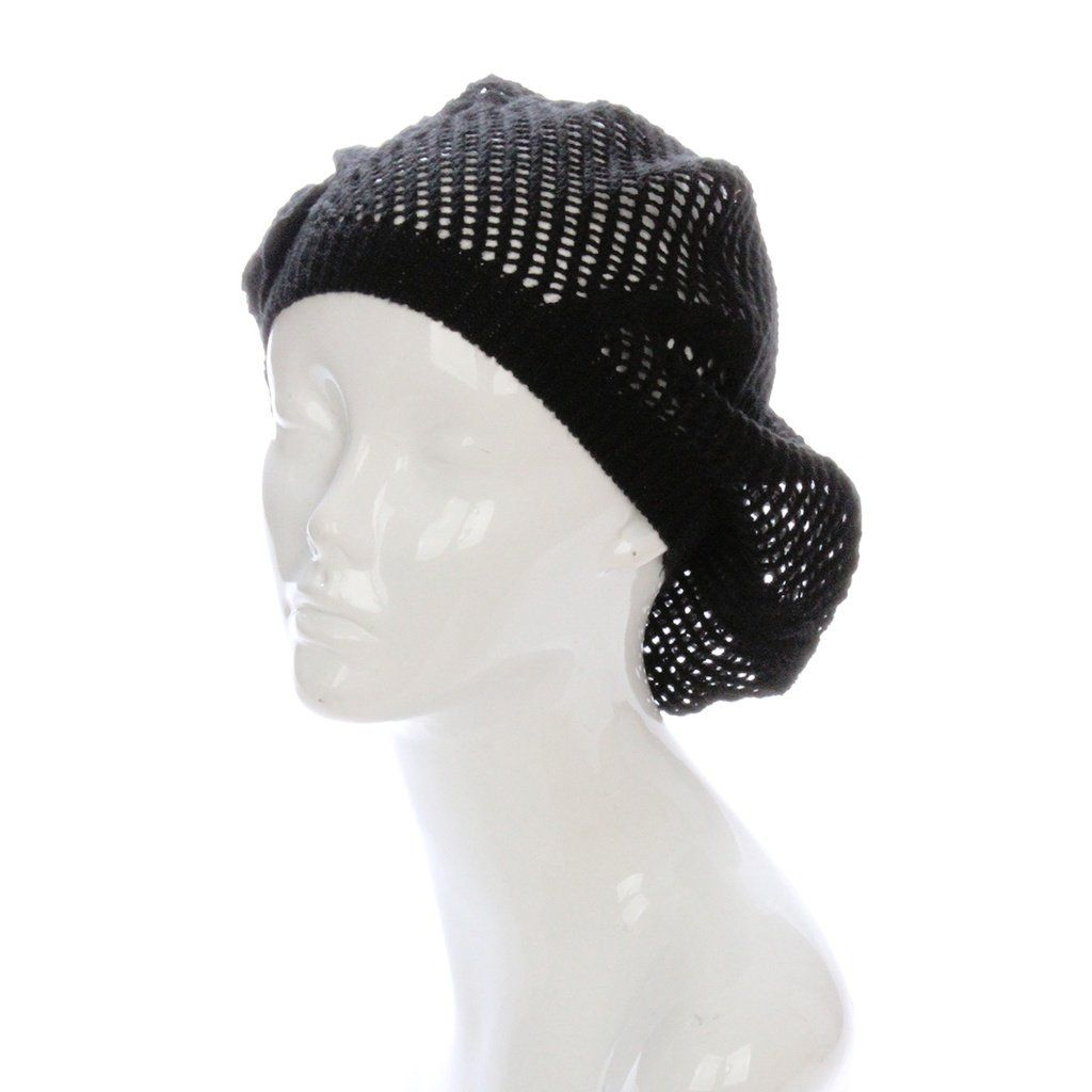 Black Slouchy Beanie Beret with Crochet Flower