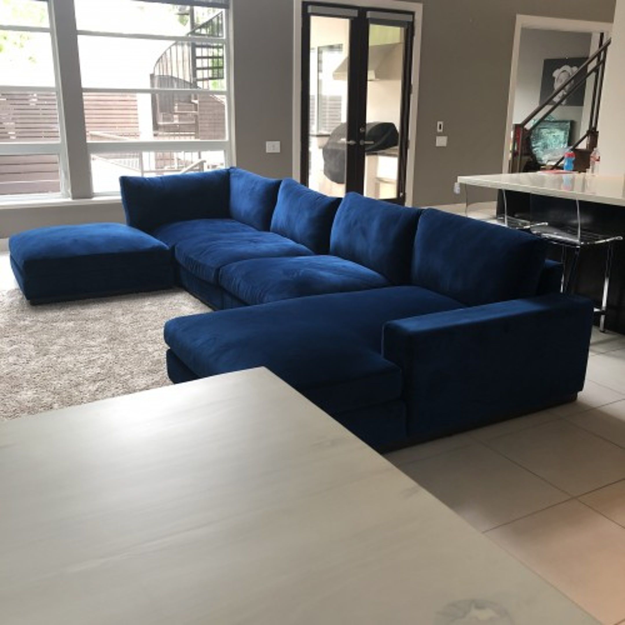 Pin On Apartment 20 #royal #blue #sectional #living #room