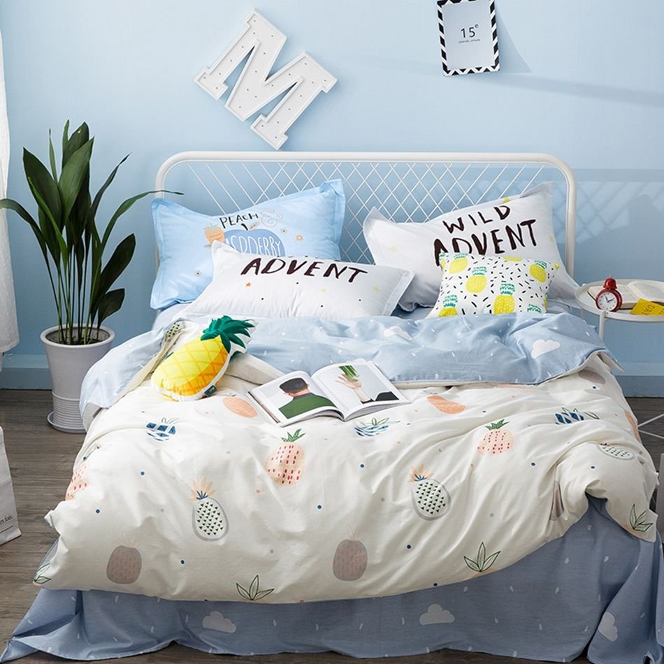 100 Cotton Duvet Cover Set With Fruit Pattern Queen Size Bedding
