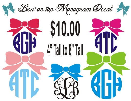 Bow On Monogram Car Decal Personalized Vinyl Sticker Computer