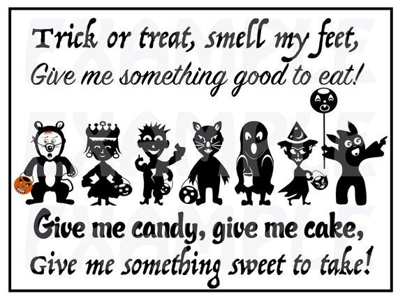 Halloween Trick Or Treat Silhouette.Pdf Halloween Trick Or Treat Door Sign Party Trick Or