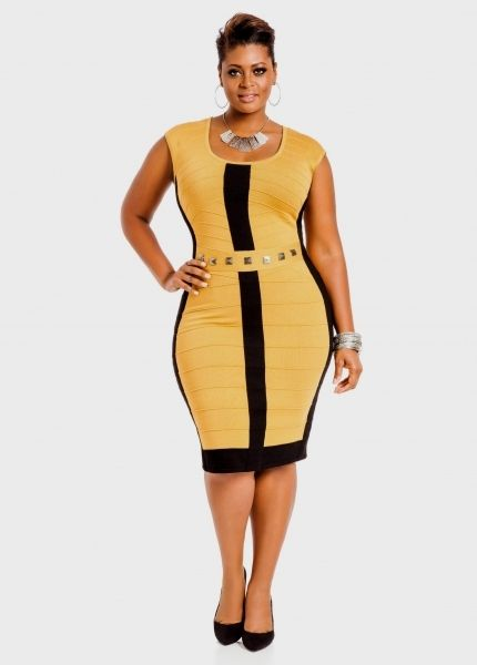 91b18e194b428 Ashley Stewart Plus Size Dresses Yellow Bodycon Dress Plus Size Naf Dresses