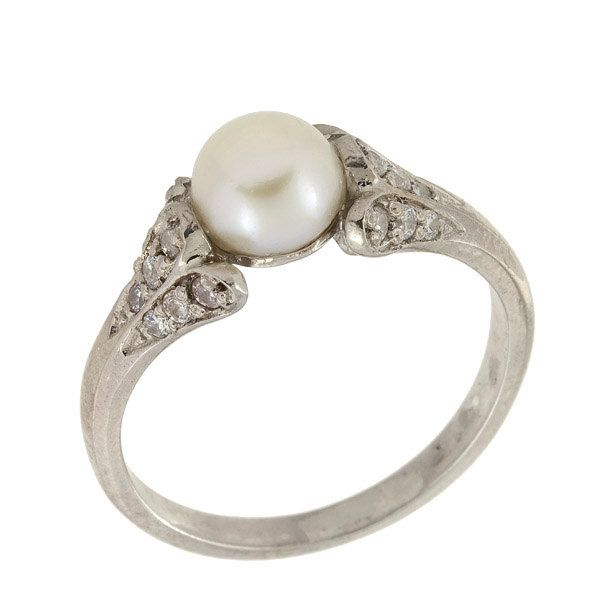 Antique Diamonds And Pearl Engagement Ring In 14k White Gold