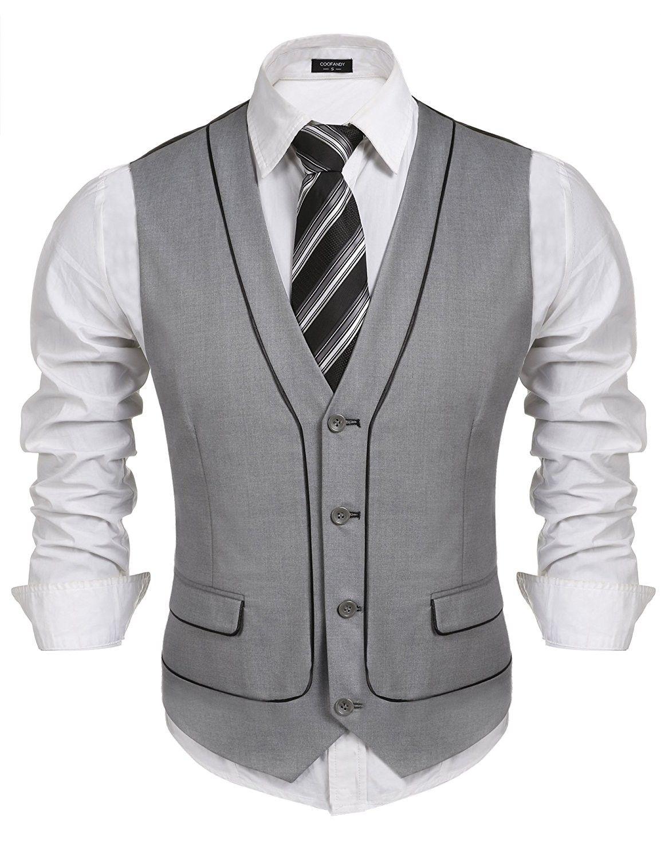 Sleeveless V Neck Patchwork Slim Fit Dress Vest Waistcoat For Wedding Date Graduation Gray Cs182i5yorq Men Vest Outfits Mens Fashion Suits Mens Outfits [ 1500 x 1154 Pixel ]
