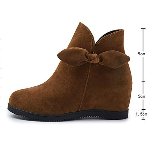 a797cd7e9045 DENER   Fashion Women Ladies Suede Round Toe Slip on Wedges Ankle Boots  Winter Snow