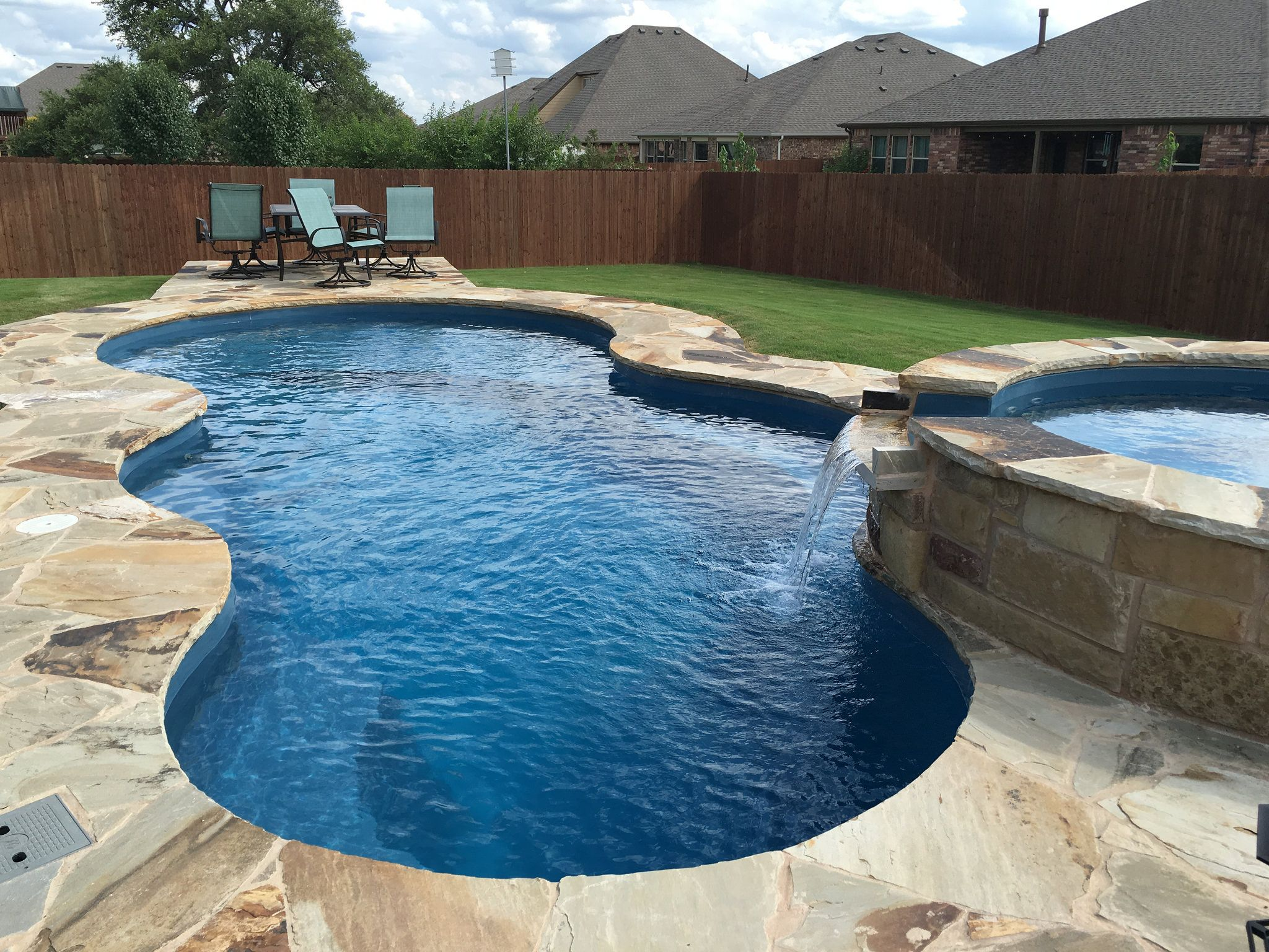 Nebula And Neptune Spa With Custom Swimming Pool Deck Stone Work Aquamarine Pools Of Texas