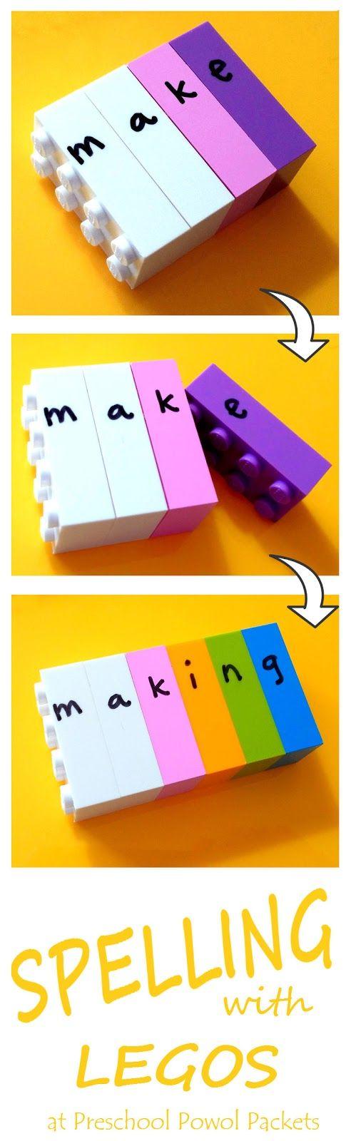 http://preschoolpowolpackets.blogspot.de/2016/01/spelling-with-legos.html: Buchstaben buchstabieren Wörter legen mit Lego Bausteinen, Legosteine, Legosteinen, schreiben, Deutsch, Klasse 1