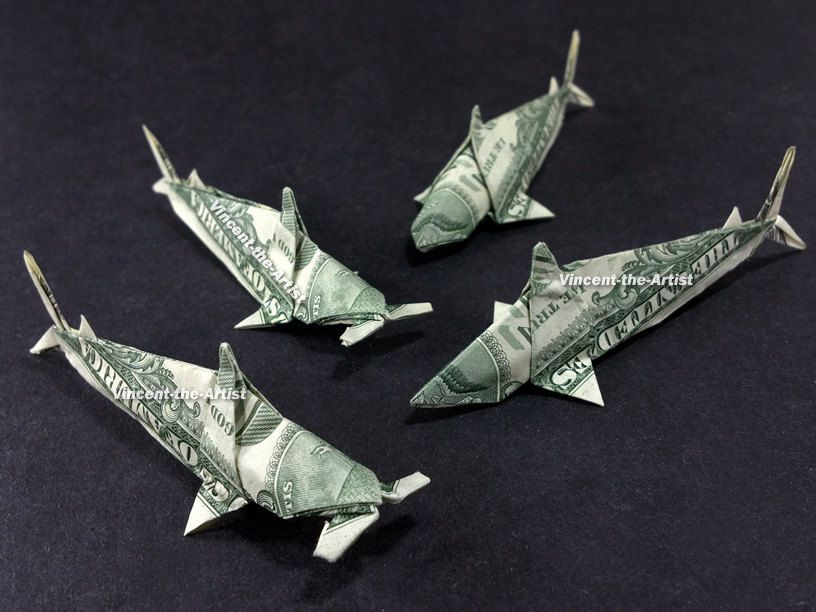 Dollar Bill Origami SHARKS - Designed by Won Park