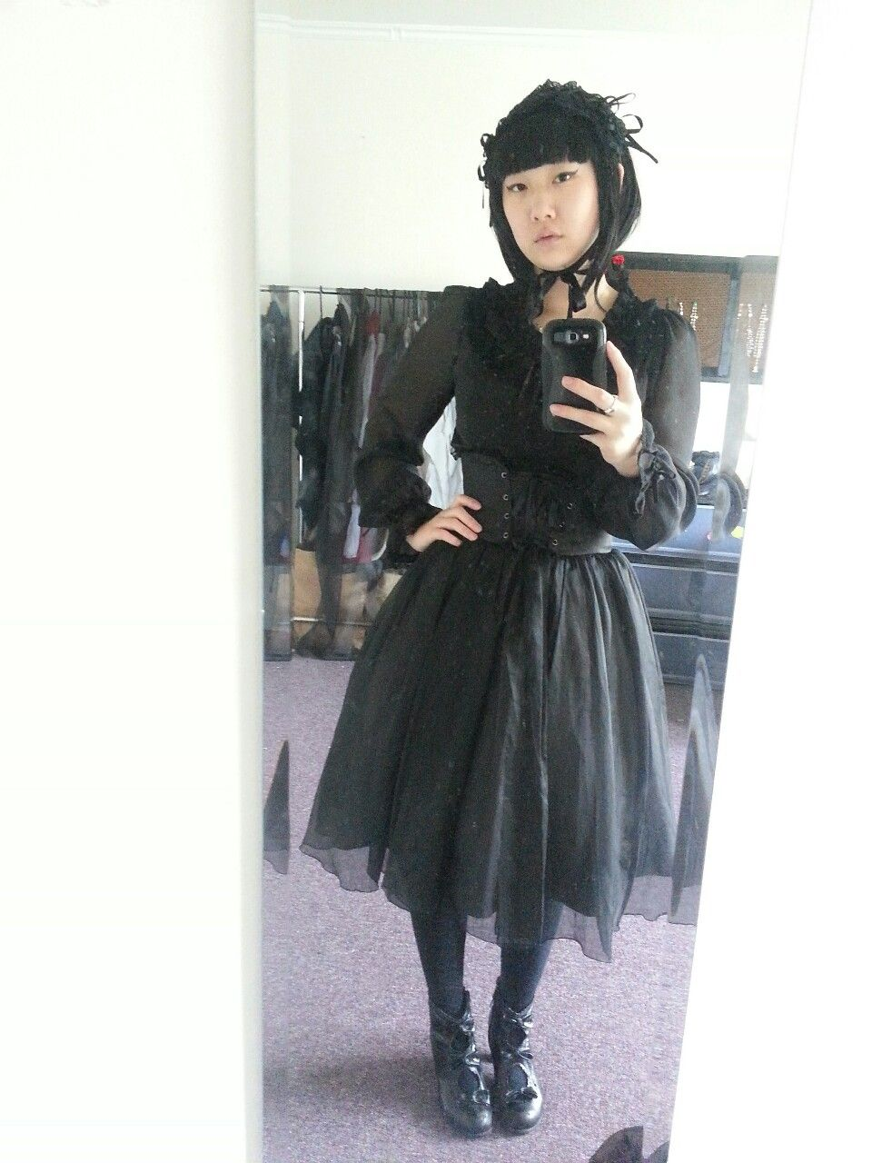 "obsixwi: ""My first rectangle headdress! Headdress: Innocent World Blouse: Alice and the Pirates Skirt: Moi Meme Moitie Socks: Offbrand Shoes: Mojo Moxy """