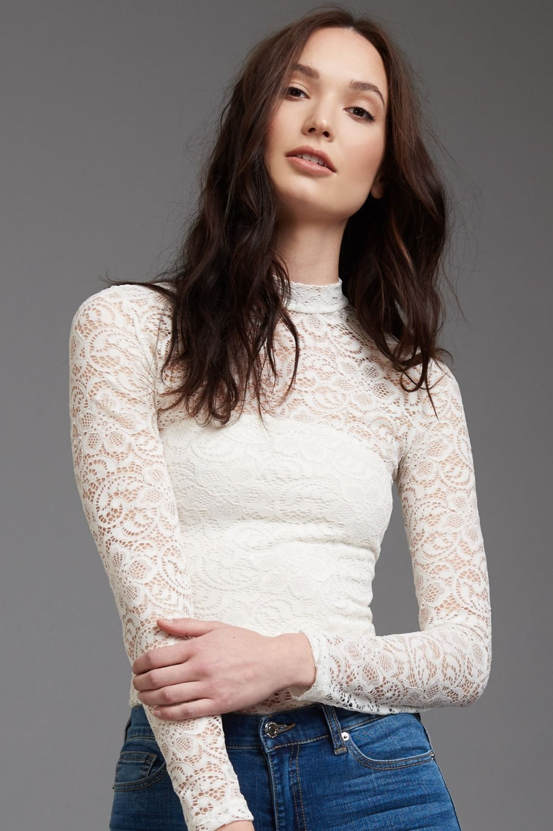 Lace bodysuit with high waisted jeans  Lacey baby Lace Mock Neck Top  Flirty  Pinterest  Winter wardrobe