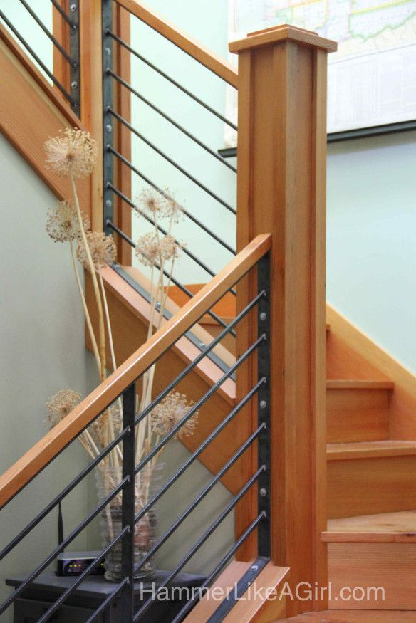 RAILING DESIGN- METAL AND WOOD COMBO RAILING DESIGN WITH PRONOUNCED KNEWL POSTS- stair railing design, custom stair railing, metal and wood staircase, modern stair